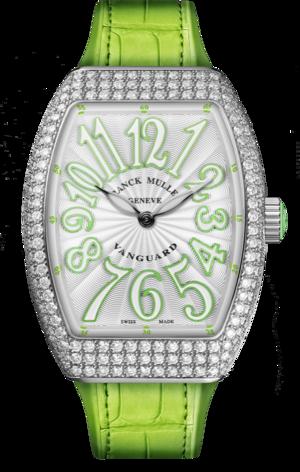 Damenuhr Franck Muller Vanguard Quartz mit Diamanten, silberfarbenem Zifferblatt und Alligatorenleder-Armband