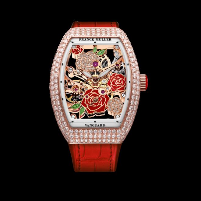 Damenuhr Franck Muller Vanguard Rose Skeleton mit Diamanten, mehrfarbigem Zifferblatt und Alligatorenleder-Armband bei Brogle