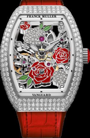 Damenuhr Franck Muller Vanguard Rose Skeleton mit Diamanten, mehrfarbigem Zifferblatt und Alligatorenleder-Armband