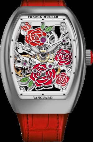 Damenuhr Franck Muller Vanguard Rose Skeleton mit mehrfarbigem Zifferblatt und Alligatorenleder-Armband
