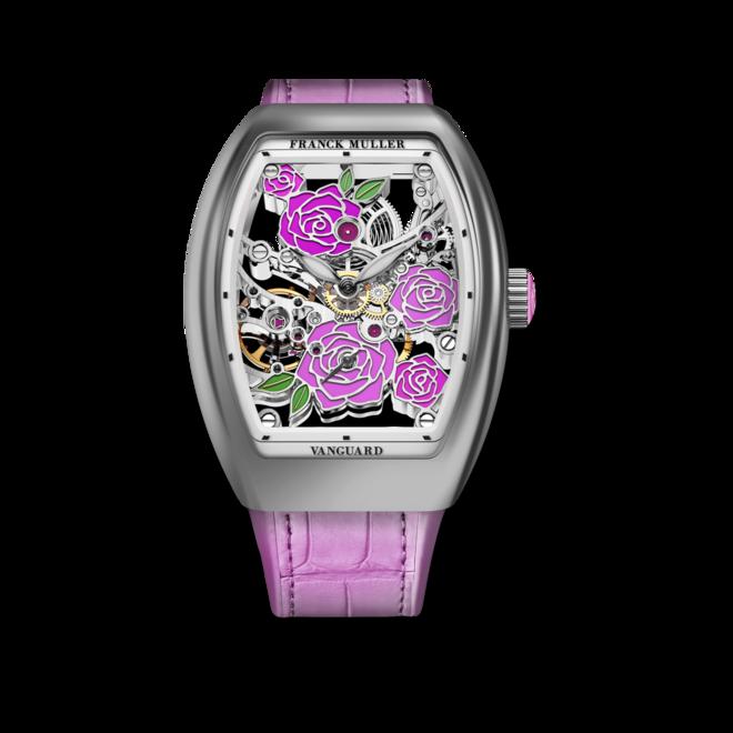 Damenuhr Franck Muller Vanguard Rose Skeleton mit mehrfarbigem Zifferblatt und Alligatorenleder-Armband bei Brogle