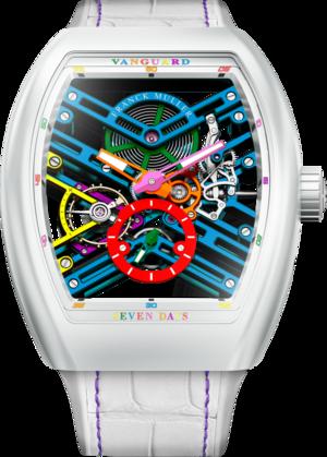 Herrenuhr Franck Muller Vanguard Skeleton Colored Dream mit mehrfarbigem Zifferblatt und Alligatorenleder-Armband
