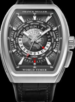 Herrenuhr Franck Muller Vanguard World Timer mit schwarzem Zifferblatt und Alligatorenleder-Armband