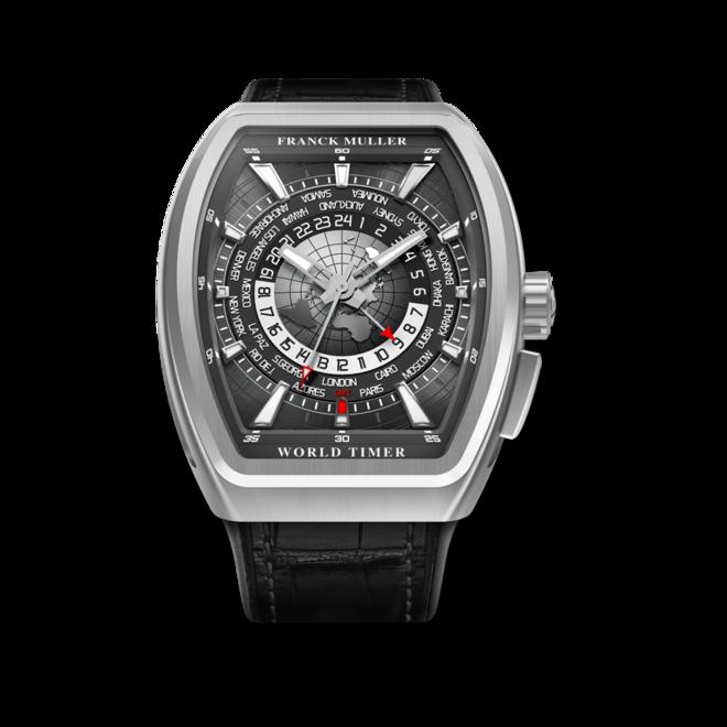 Herrenuhr Franck Muller Vanguard World Timer mit schwarzem Zifferblatt und Alligatorenleder-Armband bei Brogle