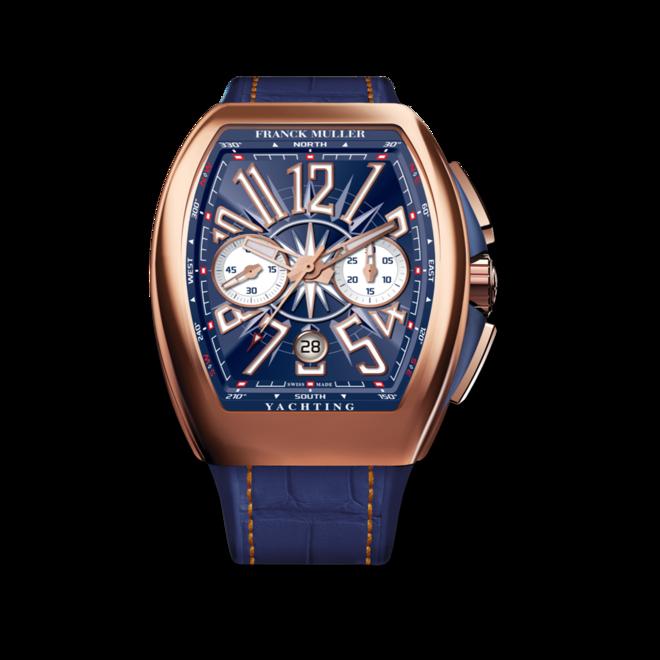 Herrenuhr Franck Muller Vanguard Yachting Chronograph mit blauem Zifferblatt und Alligatorenleder-Armband bei Brogle