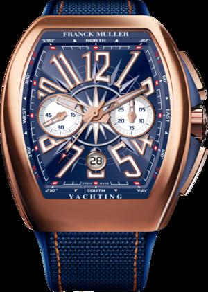 Herrenuhr Franck Muller Vanguard Yachting Chronograph mit blauem Zifferblatt und Nylonarmband