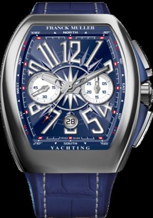 Herrenuhr Franck Muller Vanguard Yachting Chronograph mit blauem Zifferblatt und Alligatorenleder-Armband
