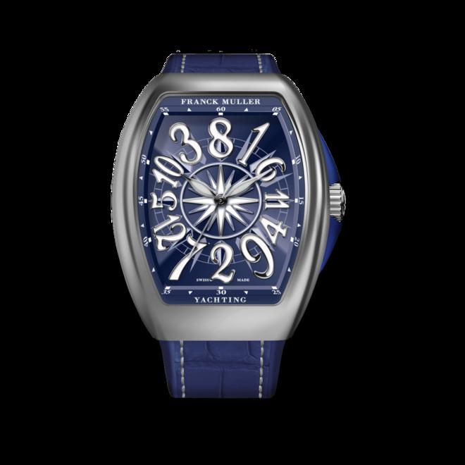 Damenuhr Franck Muller Vanguard Yachting Crazy Hours mit blauem Zifferblatt und Alligatorenleder-Armband bei Brogle