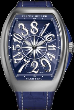 Damenuhr Franck Muller Vanguard Yachting Crazy Hours mit blauem Zifferblatt und Alligatorenleder-Armband