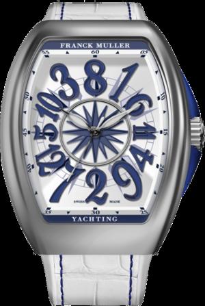 Damenuhr Franck Muller Vanguard Yachting Crazy Hours mit weißem Zifferblatt und Alligatorenleder-Armband