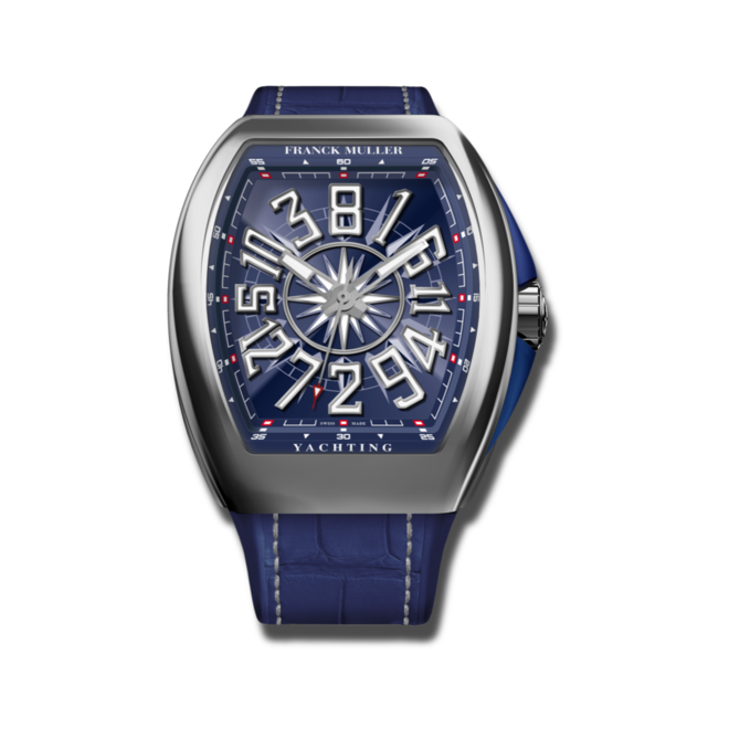 Herrenuhr Franck Muller Vanguard Yachting Crazy Hours mit blauem Zifferblatt und Alligatorenleder-Armband bei Brogle
