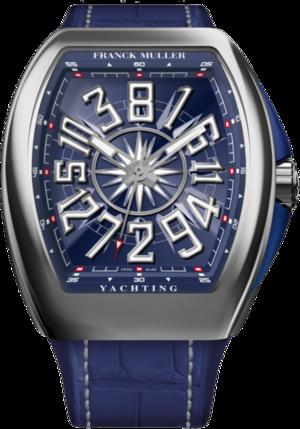Herrenuhr Franck Muller Vanguard Yachting Crazy Hours mit blauem Zifferblatt und Alligatorenleder-Armband