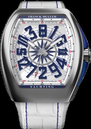Herrenuhr Franck Muller Vanguard Yachting Crazy Hours mit weißem Zifferblatt und Alligatorenleder-Armband