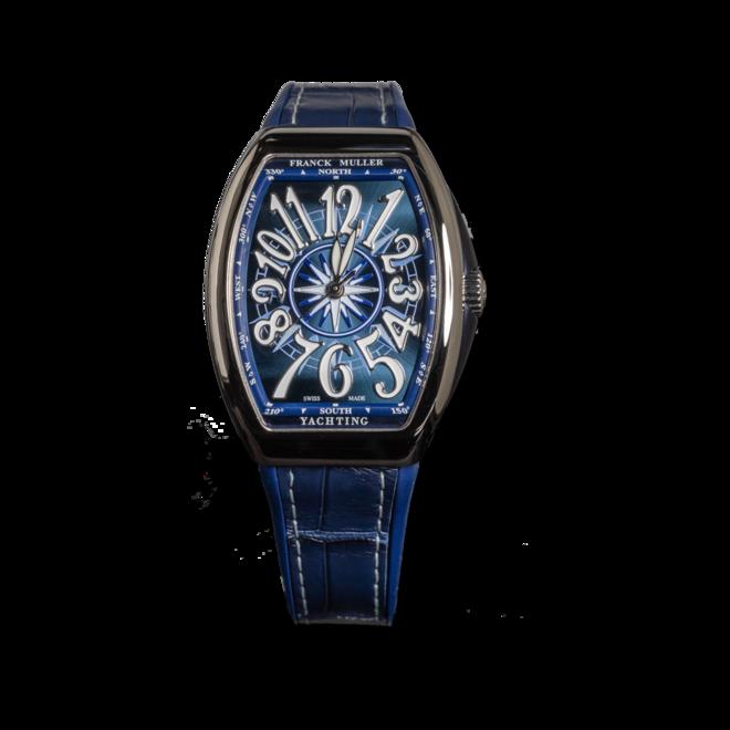 Armbanduhr Franck Muller Vanguard Yachting mit blauem Zifferblatt und Alligatorenleder-Armband bei Brogle