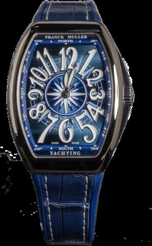 Armbanduhr Franck Muller Vanguard Yachting mit blauem Zifferblatt und Alligatorenleder-Armband