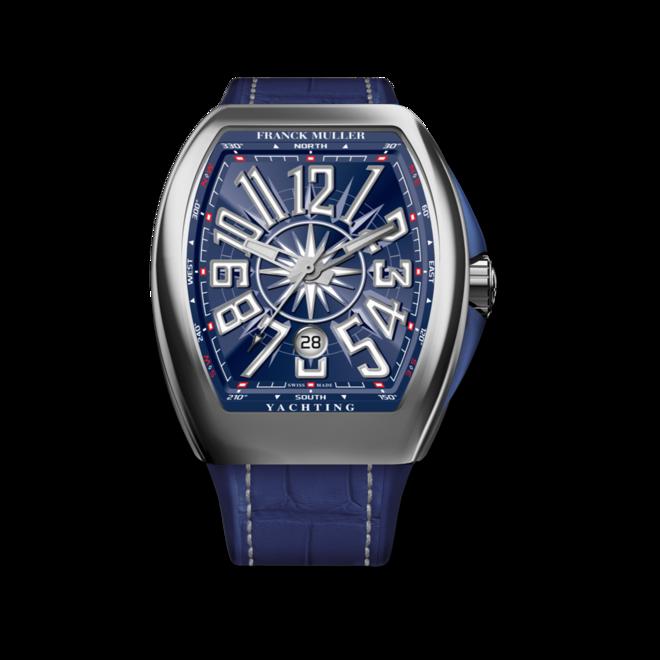 Herrenuhr Franck Muller Vanguard Yachting mit blauem Zifferblatt und Alligatorenleder-Armband bei Brogle