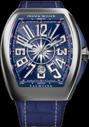 Herrenuhr Franck Muller Vanguard Yachting mit blauem Zifferblatt und Alligatorenleder-Armband