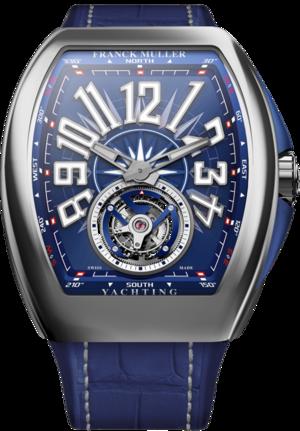 Herrenuhr Franck Muller Yachting mit blauem Zifferblatt und Alligatorenleder-Armband
