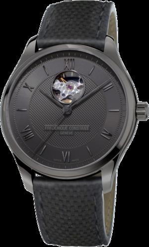 Herrenuhr Frederique Constant 75 Jahre Brogle Limited Edition mit schwarzem Zifferblatt und Kalbsleder-Armband