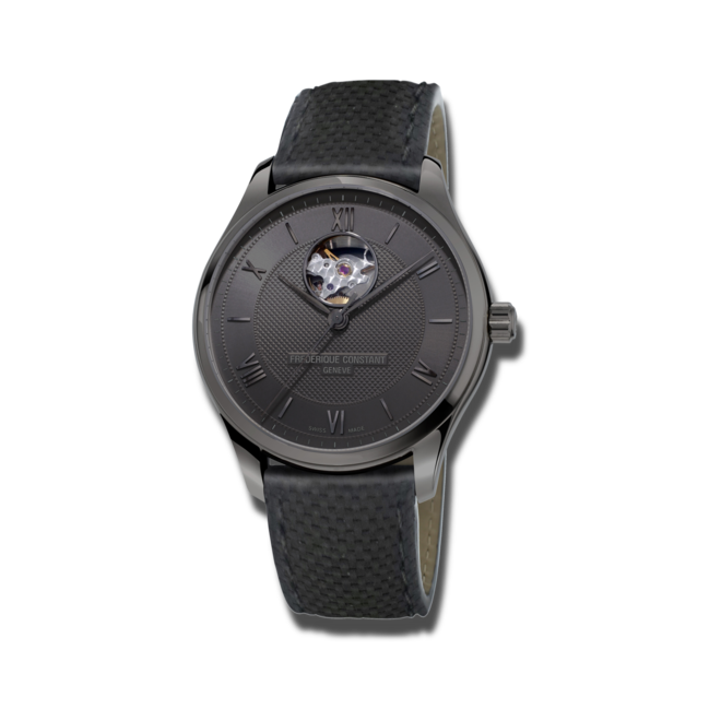 Herrenuhr Frederique Constant 75 Jahre Brogle Limited Edition mit schwarzem Zifferblatt und Kalbsleder-Armband bei Brogle