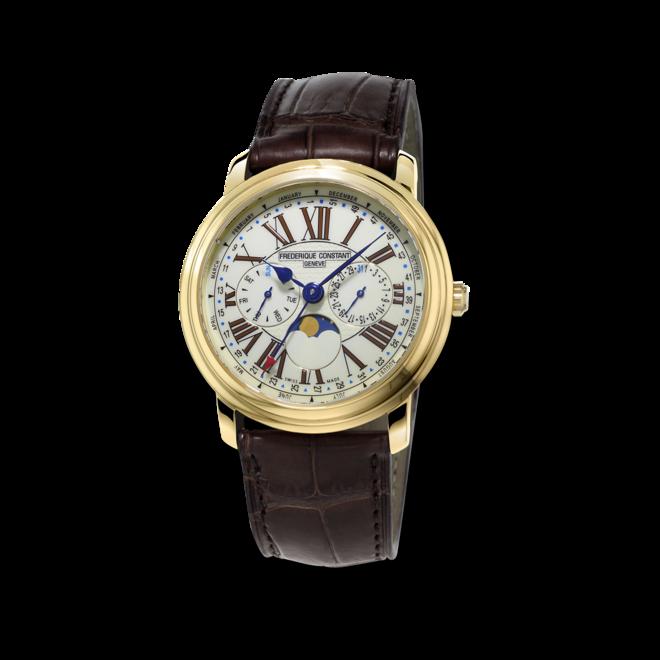 Herrenuhr Frederique Constant Classics Business Timer mit weißem Zifferblatt und Kalbsleder-Armband bei Brogle