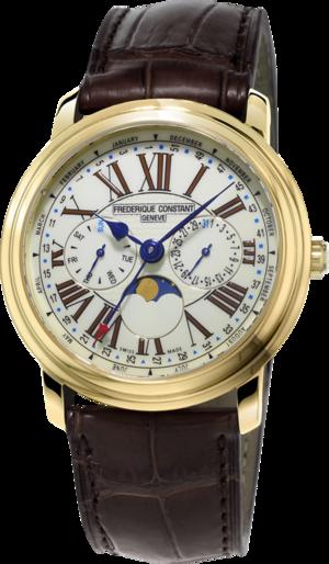 Herrenuhr Frederique Constant Classics Business Timer mit weißem Zifferblatt und Kalbsleder-Armband