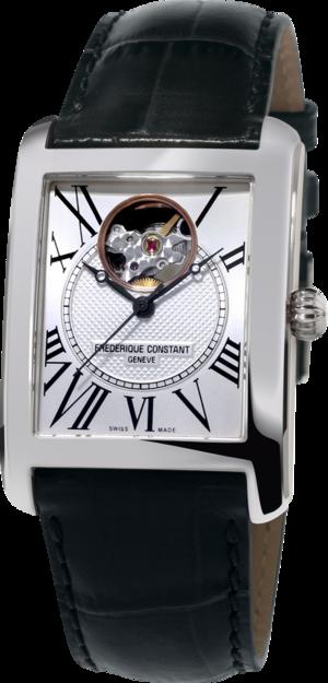Herrenuhr Frederique Constant Classics Carrée Automatic mit silberfarbenem Zifferblatt und Kalbsleder-Armband