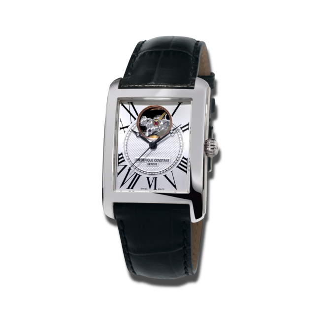 Herrenuhr Frederique Constant Classics Carrée Automatic mit silberfarbenem Zifferblatt und Kalbsleder-Armband bei Brogle