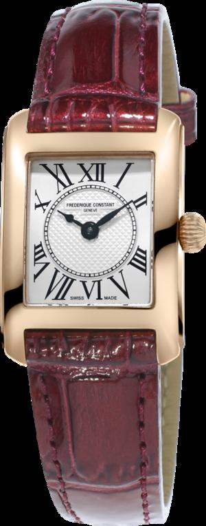 Damenuhr Frederique Constant Classics Carrée Ladies mit silberfarbenem Zifferblatt und Kalbsleder-Armband