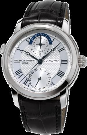 Smartwatch Frederique Constant Classic Hybrid Manufacture mit silberfarbenem Zifferblatt und Alligatorenleder-Armband