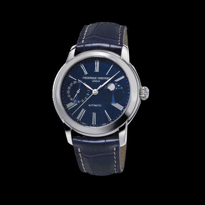 Herrenuhr Frederique Constant Classic Moonphase Manufacture mit blauem Zifferblatt und Alligatorenleder-Armband bei Brogle