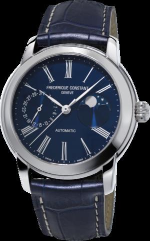Herrenuhr Frederique Constant Classic Moonphase Manufacture mit blauem Zifferblatt und Alligatorenleder-Armband