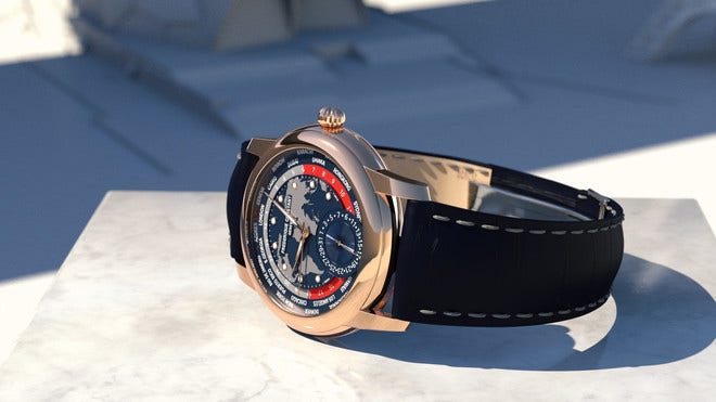 Herrenuhr Frederique Constant Classic Worldtimer Manufacture 42mm mit blauem Zifferblatt und Alligatorenleder-Armband bei Brogle