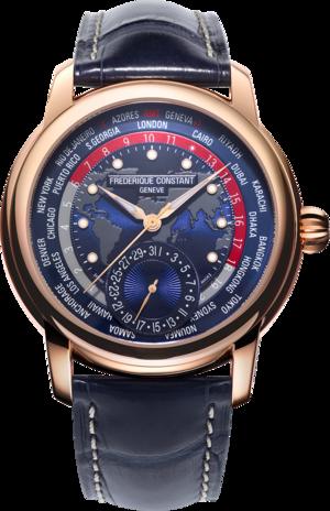 Herrenuhr Frederique Constant Classic Worldtimer Manufacture 42mm mit blauem Zifferblatt und Alligatorenleder-Armband