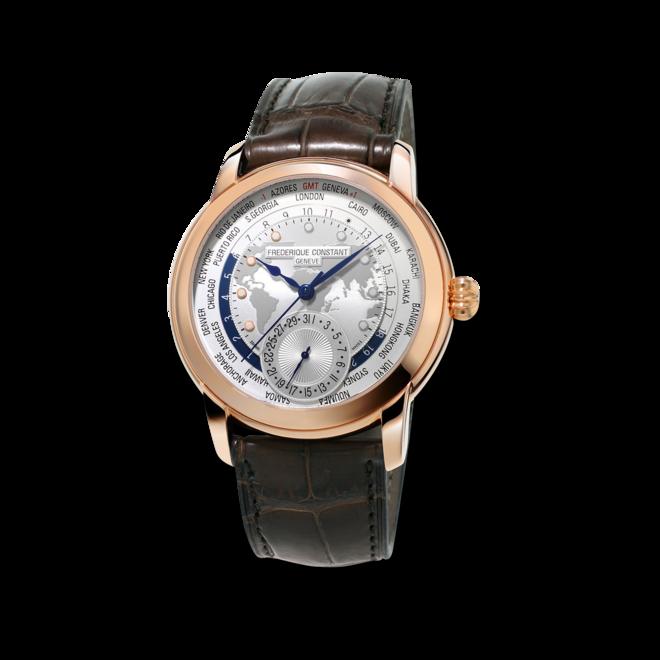 Herrenuhr Frederique Constant Classic Worldtimer Manufacture mit silberfarbenem Zifferblatt und Alligatorenleder-Armband bei Brogle