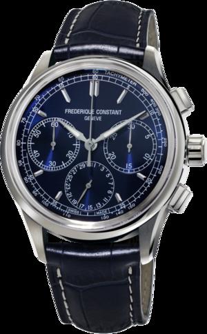 Herrenuhr Frederique Constant Flyback Chronograph Manufacture mit blauem Zifferblatt und Alligatorenleder-Armband