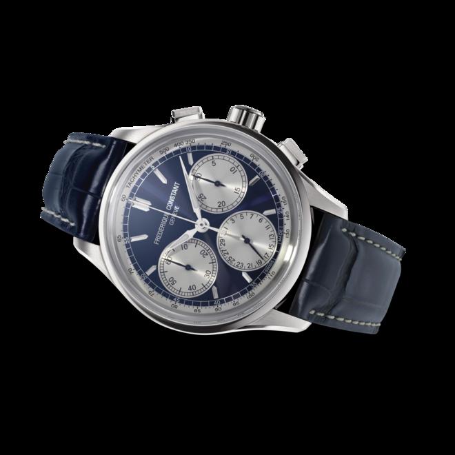 Herrenuhr Frederique Constant Flyback Chronograph Manufacture mit blauem Zifferblatt und Alligatorenleder-Armband bei Brogle