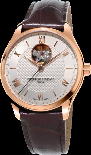 Herrenuhr Frederique Constant Classics Heart Beat Automatic mit silberfarbenem Zifferblatt und Kalbsleder-Armband