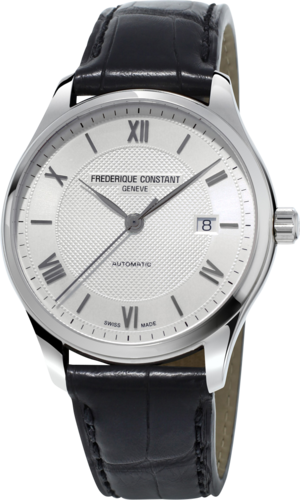 Herrenuhr Frederique Constant Classics Index Automatic mit silberfarbenem Zifferblatt und Kalbsleder-Armband