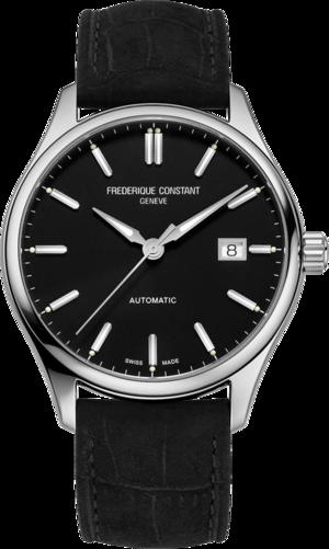Herrenuhr Frederique Constant Classics Index Automatic mit schwarzem Zifferblatt und Kalbsleder-Armband