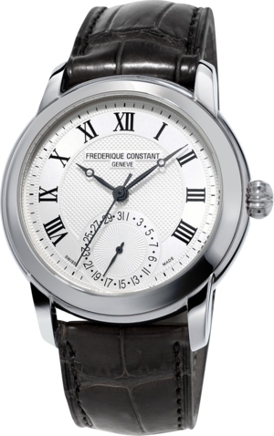 Herrenuhr Frederique Constant Classics Manufacture mit silberfarbenem Zifferblatt und Kalbsleder-Armband