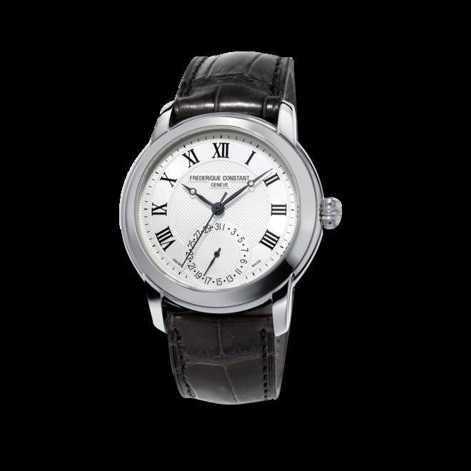 Herrenuhr Frederique Constant Classics Manufacture mit silberfarbenem Zifferblatt und Kalbsleder-Armband bei Brogle