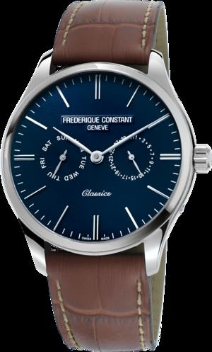 Herrenuhr Frederique Constant Classics Quartz 40mm mit blauem Zifferblatt und Kalbsleder-Armband