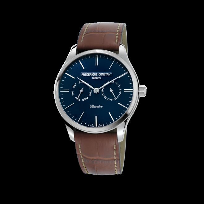 Herrenuhr Frederique Constant Classics Quartz 40mm mit blauem Zifferblatt und Kalbsleder-Armband bei Brogle