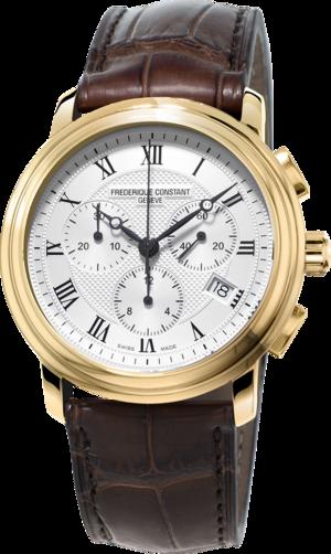 Herrenuhr Frederique Constant Classics Quartz Chronograph mit silberfarbenem Zifferblatt und Kalbsleder-Armband