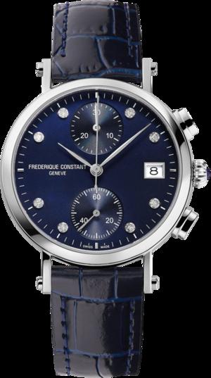 Damenuhr Frederique Constant Classics Quartz Chronograph Ladies mit Diamanten, blauem Zifferblatt und Armband aus Kalbsleder mit Krokodilprägung