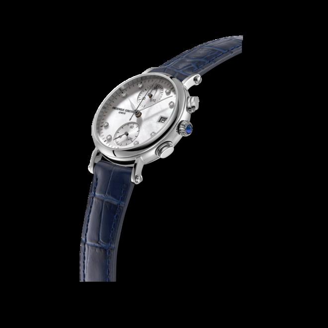 Damenuhr Frederique Constant Classics Quartz Chronograph Ladies mit Diamanten, perlmuttfarbenem Zifferblatt und Armband aus Kalbsleder mit Krokodilprägung bei Brogle