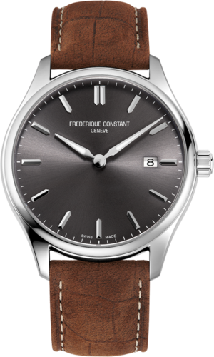 Herrenuhr Frederique Constant Classics Quartz Gent 40mm mit grauem Zifferblatt und Kalbsleder-Armband