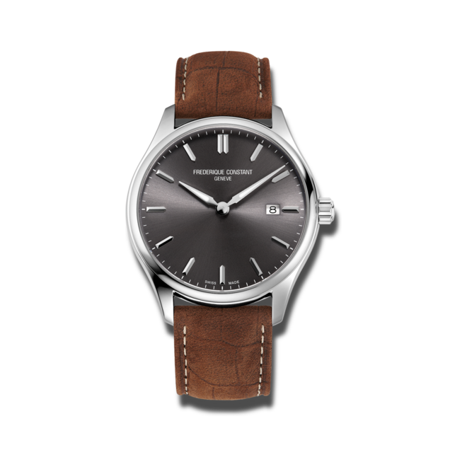 Herrenuhr Frederique Constant Classics Quartz Gent 40mm mit grauem Zifferblatt und Kalbsleder-Armband bei Brogle