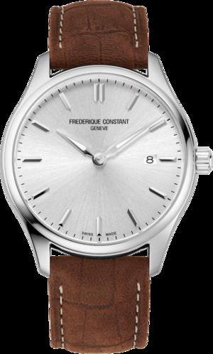 Herrenuhr Frederique Constant Classics Quartz Gent 40mm mit silberfarbenem Zifferblatt und Kalbsleder-Armband
